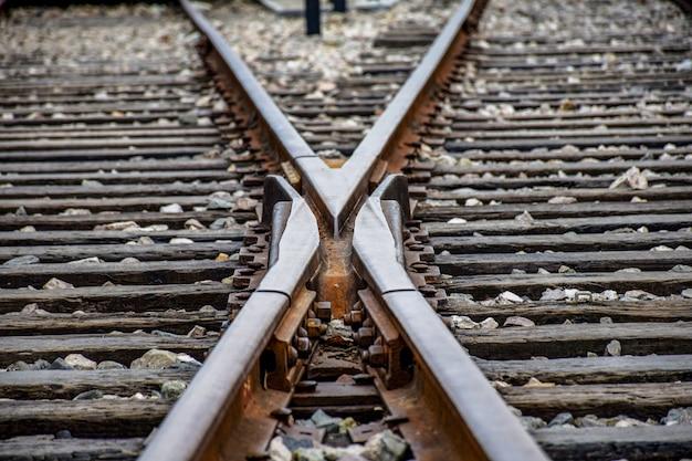 Twee elkaar kruisende treinsporen