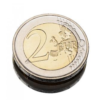 Twee euromunten versleten