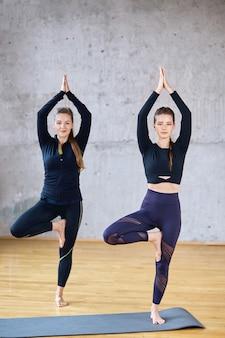 Twee fitnessvrouwen die zich in vrksasana-houding bevinden.