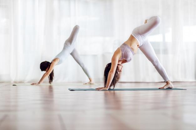 Twee flexibele aantrekkelijke fit blanke meisjes in three legged downward-facing dog yoga-positie. selectieve aandacht voor het meisje op de voorgrond.