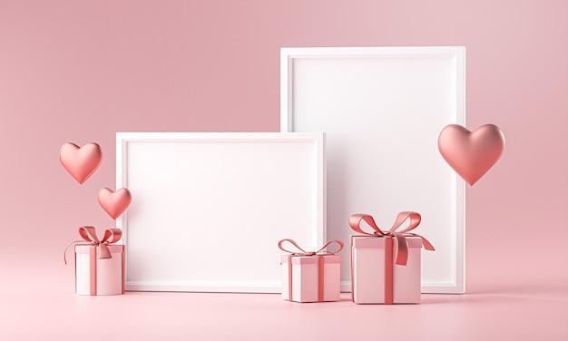 Twee fotolijst mockup sjabloon love heart ballon en geschenkdoos 3d-rendering