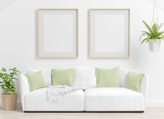 Twee frames op een woonkamer mockup met groene planten 3d-rendering