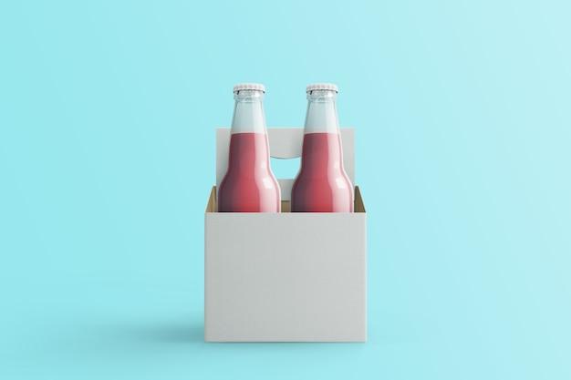 Twee geassorteerde frisdrankflessen, niet-alcoholische dranken met witboekdoos geïsoleerd op toscha background.3d rendering. geschikt voor uw ontwerpproject.