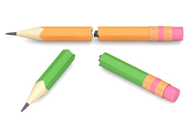 Twee gebroken potloden