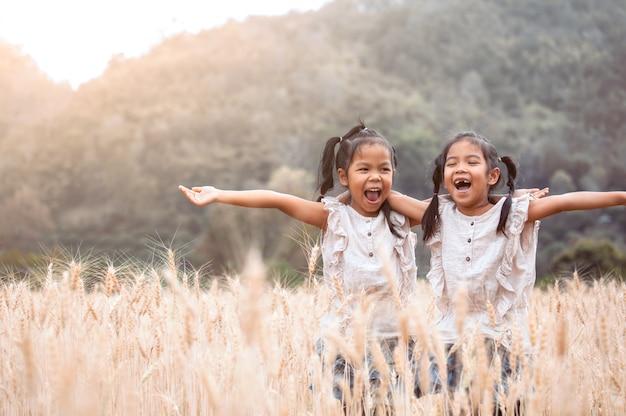 Twee gelukkige aziatische kindmeisjes die pret hebben samen op het gerstgebied te spelen