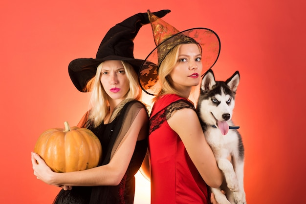 Twee gelukkige jonge vrouwen in zwarte en rode jurken, heksenkostuums halloween op feestje over oranje muur. twee mooie blonde vrouwen in carnavalskostuums. feestelijk halloween-ontwerp.