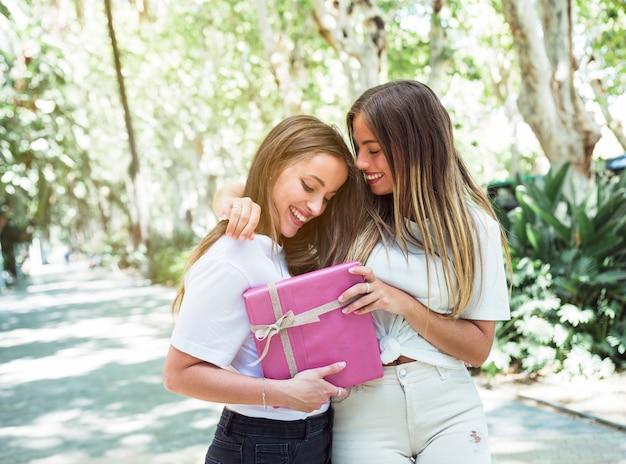 Twee gelukkige vrouwelijke vrienden met roze geschenkdoos