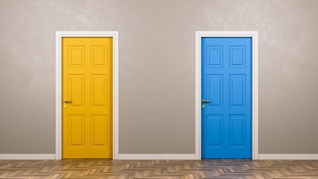 Twee gesloten deuren vooraan in de kamer