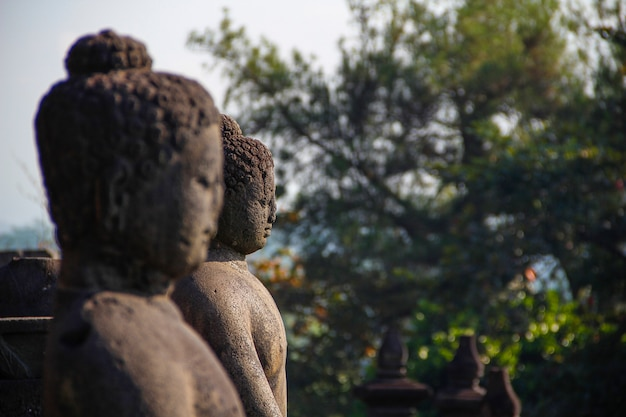 Twee gezichten in de borobudur-tempel. indonesië