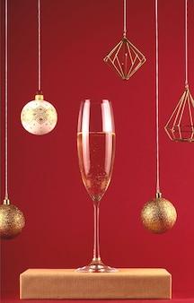Twee glassess champagne op een stand op een rode achtergrond met kerstballen en decoraties. vakantie en nieuwjaar concept.