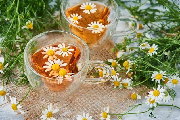 Twee glazen kopjes thee met kamille, verspreide kamillebloemen op een stuk jute.