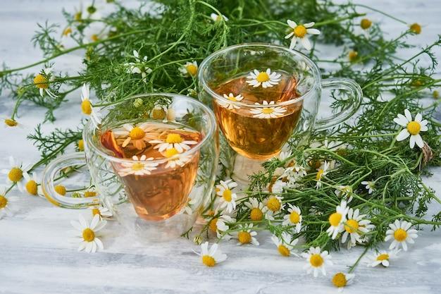 Twee glazen kopjes thee met kamille, verspreide kamillebloemen op grijs