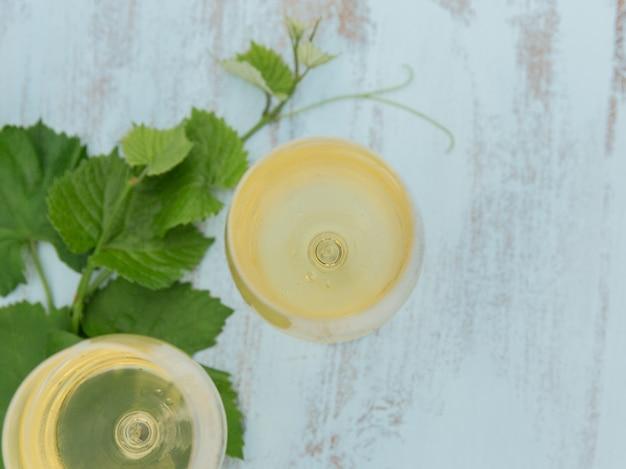 Twee glazen witte wijn met druivenbladeren op lichtblauw