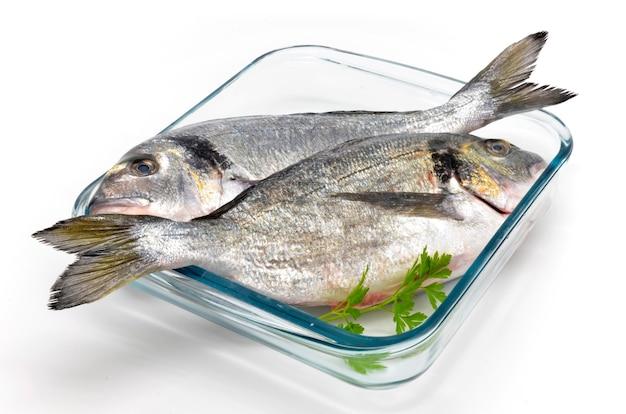 Twee goldenfish in glazen ovenschaal