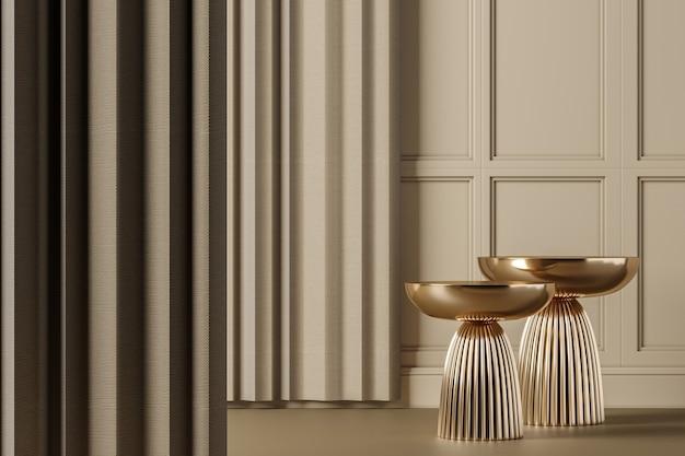 Twee gouden bijzettafel op beige klassieke interieur mockup scene, abstracte achtergrond voor product of presentatie. 3d-rendering