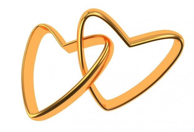 Twee gouden hartenringen die op wit worden geïsoleerd