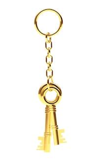 Twee gouden sleutels aan een sleutelhanger