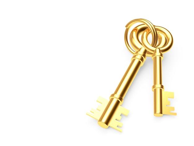 Twee gouden sleutels aan een sleutelring