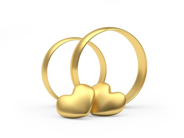 Twee gouden trouwringen met hartjes
