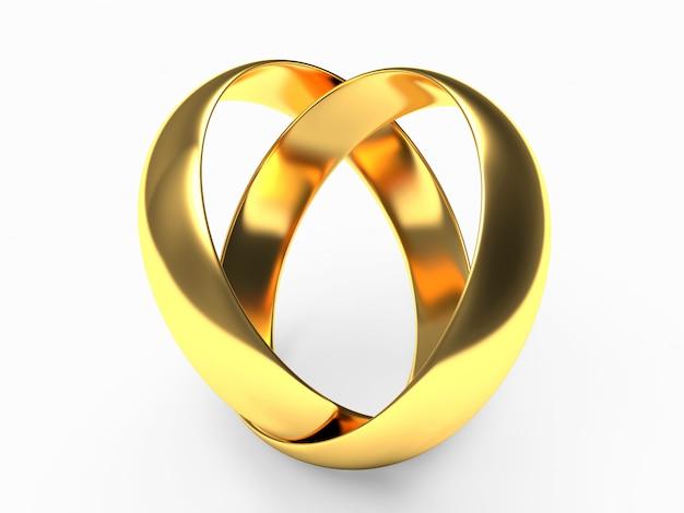 Twee gouden trouwringen verbonden in de vorm van een hart