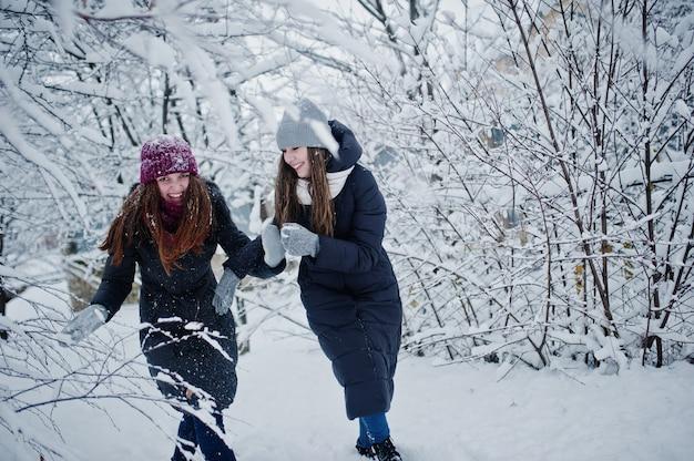 Twee grappige meisjesvrienden die pret hebben bij de winter sneeuwdag dichtbij sneeuw behandelde bomen.