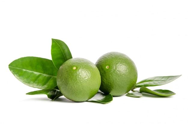Twee groene limoenen (lemmetjes) met bladeren geïsoleerd op een witte achtergrond