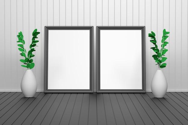 Twee grote gesneden afbeeldingsframes met lege lege ruimte.