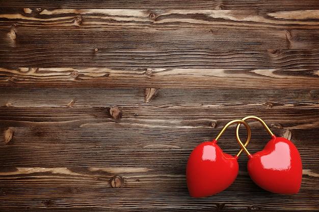 Twee harten op een donkere houten achtergrond. concept voor valentijnsdag. 3d-afbeelding. 3d render.