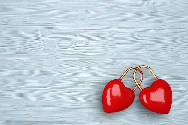 Twee harten op een lichte houten achtergrond. concept voor valentijnsdag. 3d-afbeelding. 3d render.
