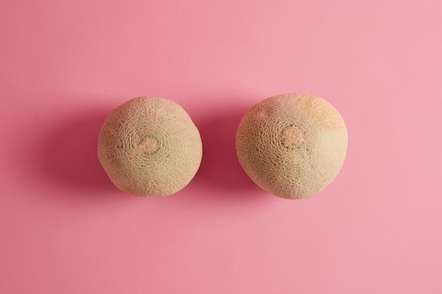 Twee hele rijpe heerlijke kantaloepmeloenen die van bovenaf over rooskleurige achtergrond worden gefotografeerd. zomerfruit rijk aan voedingsstoffen, kan aan uw dieet worden toegevoegd, heeft een hoog watergehalte, helpt u gehydrateerd te blijven Gratis Foto