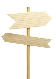 Twee houten pijlen ondertekenen geïsoleerd op wit