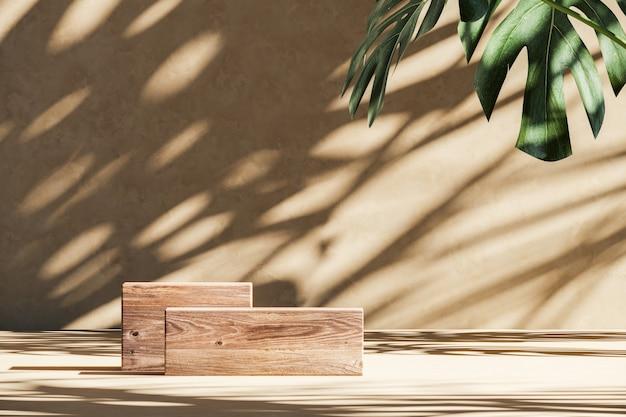 Twee houten platform op beige scène, zonnescherm schaduw tropische planten op de muur. abstracte achtergrond voor productpresentatie of advertenties. 3d-rendering