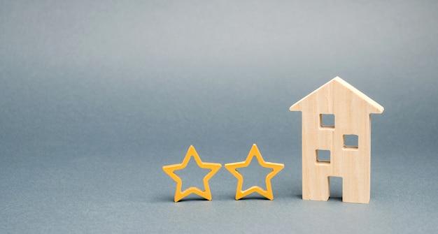 Twee houten sterren en een huis.