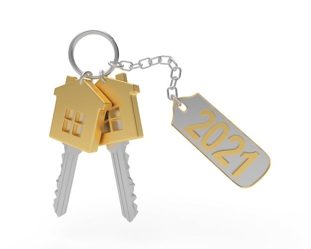 Twee huissleutels met nummer 2021 aan een sleutelhanger