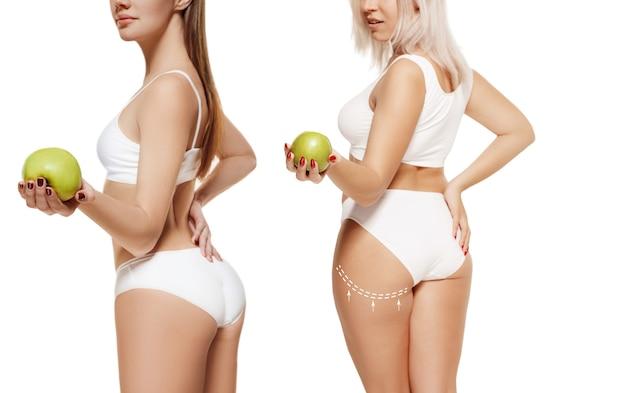 Twee jonge dikke en dunne vrouwen hebben verschillende figuren vergelijkingsconcept