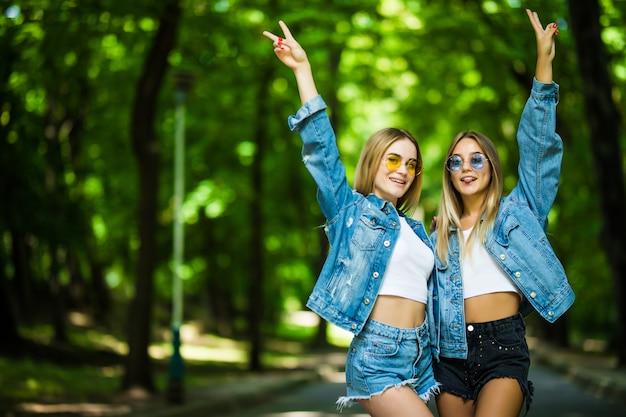 Twee jonge meisjes die pret in het de zomerpark hebben