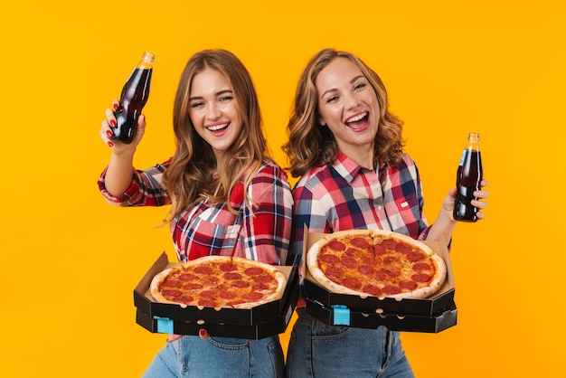 Twee jonge mooie meisjes die geruite overhemden dragen die geïsoleerde pizzadozen en frisdrankflessen houden