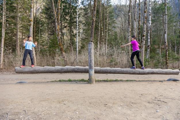 Twee jonge vrouwelijke kinderen spelen op een houten wipbalansbalk in een nationaal park national