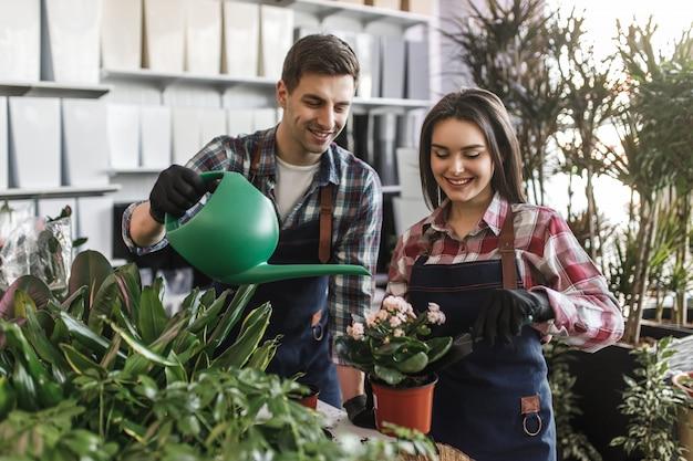 Twee jonge werknemers in blauw schort besteden tijd en helpen elkaar om bloemen in een pot te planten en water te geven