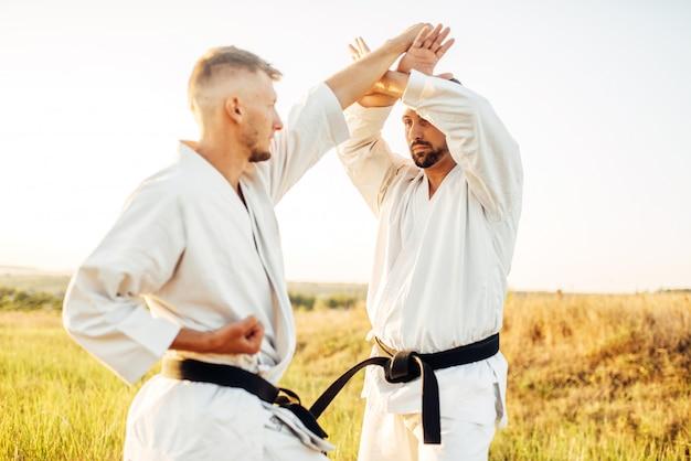 Twee karatevechters met zwarte gordels op trainingsgevecht in zomer veld. vechtsportstrijders op training buiten, techniekoefening