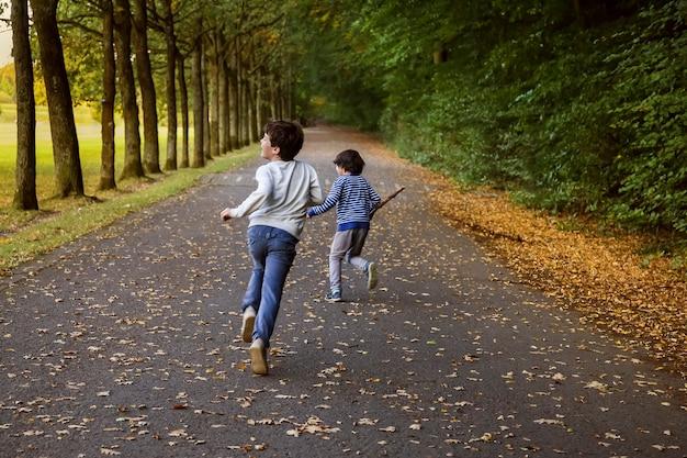 Twee kinderen rennen over de parkweg. jongens spelen inhalen langs het herfstpad in het bos. gelukkige broers spelen buiten.