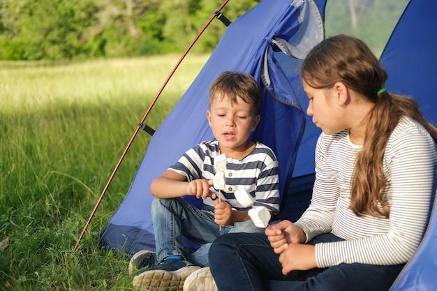 Twee kinderen spelen stoel en eten marshmallow in tent. gelukkige familiewandeling in de zomer. broers en zussen houden van. hoge kwaliteit foto