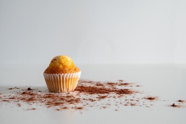 Twee kleine chocolate chip muffins bestrooid met cacao