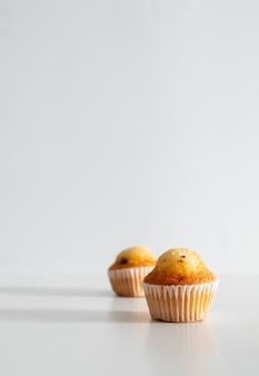 Twee kleine chocolate chip muffins