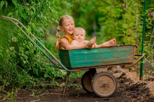 Twee kleine kinderen meisje en jongen in het land in een tuin kruiwagen vergadering glimlachen