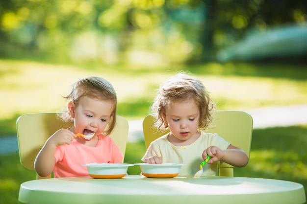 Twee kleine meisjes die aan een tafel zitten en samen eten tegen groen gazon