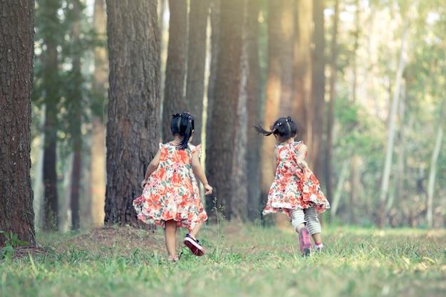 Twee kleine meisjes lopen en plezier hebben in het park in vintage kleurtoon