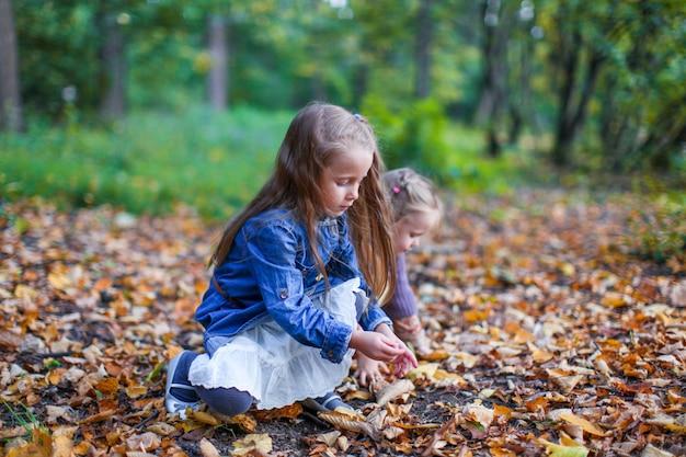 Twee kleine mooie meisjes die op de gele weide in warme de herfstdag zitten