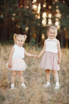 Twee kleine zusters houden handen in het park. klein meisje met twee staarten. beste vrienden.