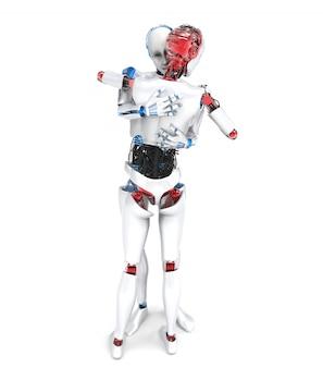 Twee knuffelen robots op wit